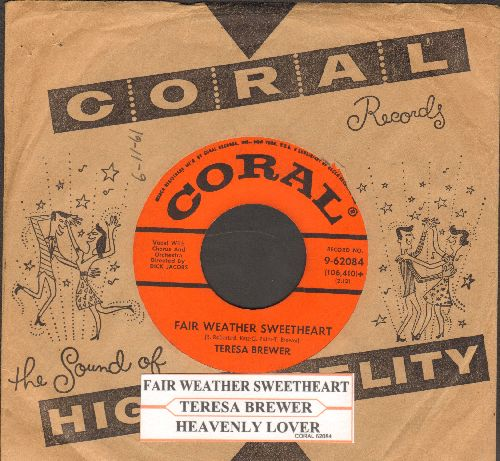 Brewer, Teresa - Fair Weather Sweetheart/Heavenly Lover (with juke box label) - VG7/ - 45 rpm Records
