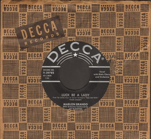 Brando, Marlon - Luck Be A Lady/If I Were A Bell (by Jean Simmons on flip-side) (both songs from film -Guys and Dolls-, with vintage Decca company sleeve) - VG7/ - 45 rpm Records