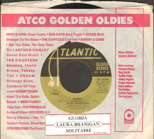 Branigan, Laura - Gloria (VICTORY SONG for St. Louis Blues, 2019 Stanley Cup CHAMPIONS!)/Solitaire (double-hit re-issue with juke box label and Atlantic company sleeve) - VG7/ - 45 rpm Records