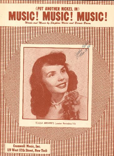 Brewer, Teresa - Music, Music, Music - Vintage SHEET MUSIC for Teresa Brewer's signature song, NICE cover portrait of the singer! - EX8/ - Sheet Music