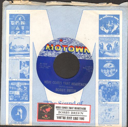 Breen, Bobby - Here Comes That Heartache/You're Just Like You (RARE Vintage Pop 2-sider with Motown company sleeve and juke box label) (bb) - EX8/ - 45 rpm Records