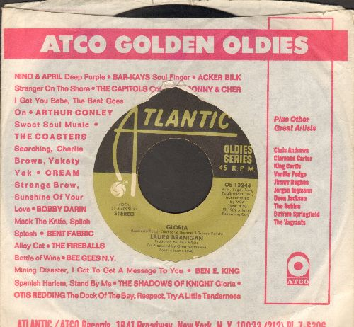 Branigan, Laura - Gloria (VICTORY SONG for St. Louis Blues, 2019 Stanley Cup CHAMPIONS!)/Solitaire (double-hit re-issue with Atlantic company sleeve) - VG7/ - 45 rpm Records