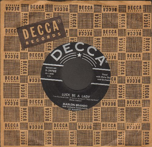 Brando, Marlon & Jean Simmons - Luck Be A Lady/If I Were A Bell (both songs from film -Guys & Dolls-) (with vintage Decca company sleeve) - EX8/ - 45 rpm Records
