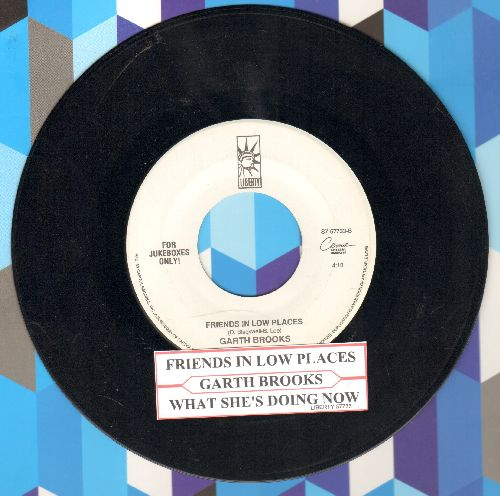 Brooks, Garth - Friends In Low Places/What She's Doing Now (with juke box label) - NM9/ - 45 rpm Records