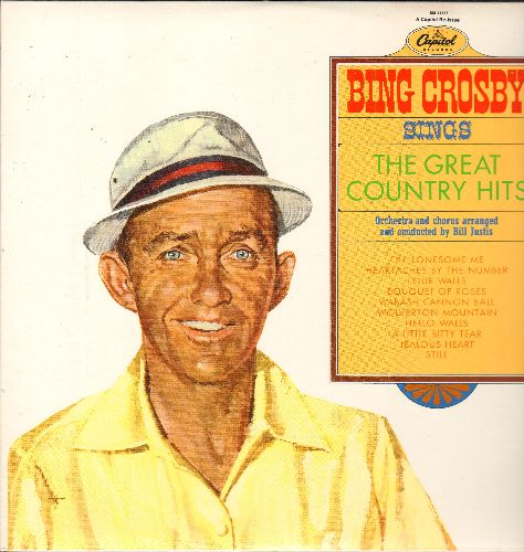 Crosby, Bing - The Great Country Hits: Heartaches By The Number, A Little Bitty Tear, Jealous Heart, Wolverton Mountain, Hello Walls Oh Lonesome Me (vinyl MONO LP record, re-issue) - NM9/NM9 - LP Records