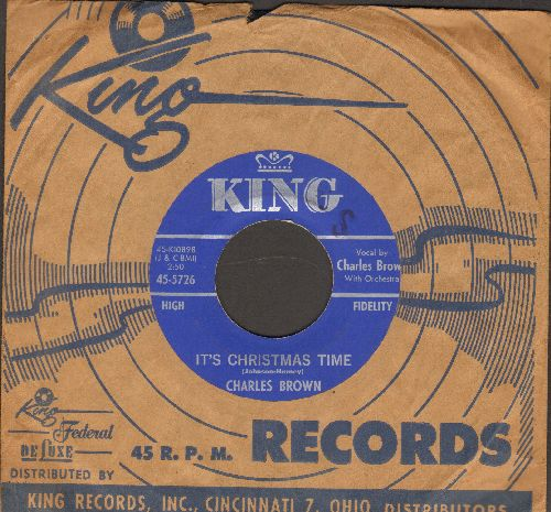 Brown, Charles - It's Christmas Time/Christmas Finds Me Lonely Wanting You (with vintage King company sleeve) - NM9/ - 45 rpm Records