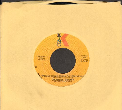 Brown, Charles - Please Come Home For Christmas/Christmas (Comes But Once A Year) (by Amos Milburn on flip-side) (authentic-looking 1975 re-issue) - EX8/ - 45 rpm Records