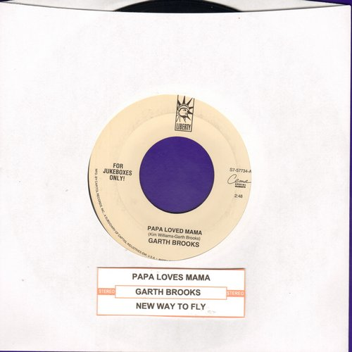 Brooks, Garth - Papa Loved Mama/New Way To Fly (with juke box label) - VG7/ - 45 rpm Records