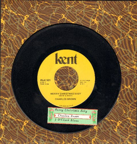 Brown, Charles - Merry Christmas Baby/3 O'Clock Blues (double-hit re-issue with juke box label) - EX8/ - 45 rpm Records