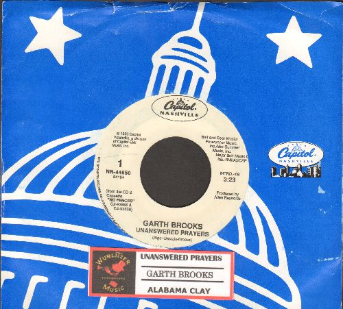 Brooks, Garth - Unanswered Prayers (SLOW-DANCE FAVORITE!)/Alabama Clay (with juke box label and Capitol company sleeve) - NM9/ - 45 rpm Records