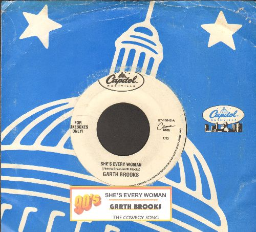 Brooks, Garth - She's Every Woman/The Cowboy Song (with Capitol company sleeve and juke box label) - EX8/ - 45 rpm Records