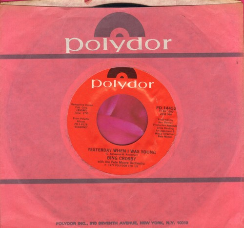 Crosby, Bing - Yesterday When I Was Young/June In January (with Polydor company sleeve) - EX8/ - 45 rpm Records