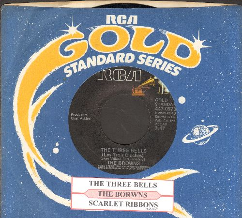 Browns - The Three Bells/Scarlet Ribbons (double-hit re-issue with juke box label and RCA company sleeve) - NM9/ - 45 rpm Records