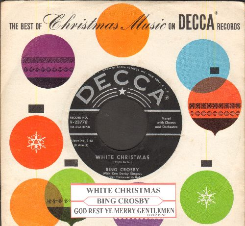 Crosby, Bing - White Christmas/God Rest Ye Merry Gentlemen (black label/star lines issue with juke box label and RARE Decca Christmas company sleeve) - NM9/ - 45 rpm Records