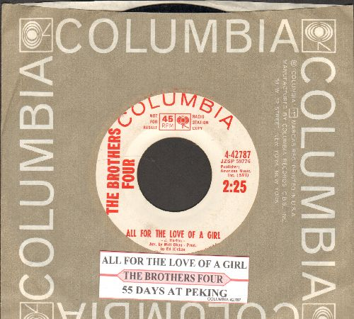 Brothers Four - 55 Days At Peking/All For The Love Of A Girl (DJ advance pressing with juke box label and Columbia company sleeve)  - EX8/ - 45 rpm Records