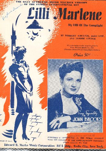 Dietrich, Marlene - Lili Marlene  (My Lilli Of The Lamplight) - Vintage SHEET MUSIC for the legendary WWII Love Ballad, recorded by Joan Brooks but made famour by Marlene Dietrich. - EX8/ - 45 rpm Records