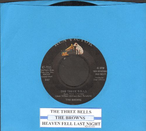 Browns - The Three Bells (Little Jimmy Brown)/Heaven Fell Last Night (first issue with juke box label) - NM9/ - 45 rpm Records
