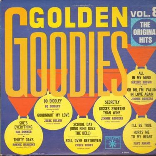 Brown, Maxine, Bo Diddley, Jesse Belvin, Ral Donner, others - Golden Goodies Vol. 8: Bo Diddley, Goodnight My Love, Secretly, All In My Mind, I'll Be True, Thirty Days (Vinyl LP record, late 1960s issue of original hit recordings!) (sol) - EX8/EX8 - LP Re