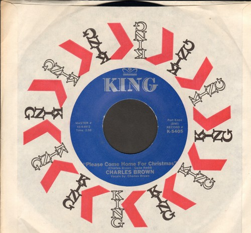 Brown, Charles - Please Come Home For Christmas/Christmas (Comes But Once A Year) (by Amos Milburn on flip-side) (blue label re-issue with King company sleeve) - NM9/ - 45 rpm Records