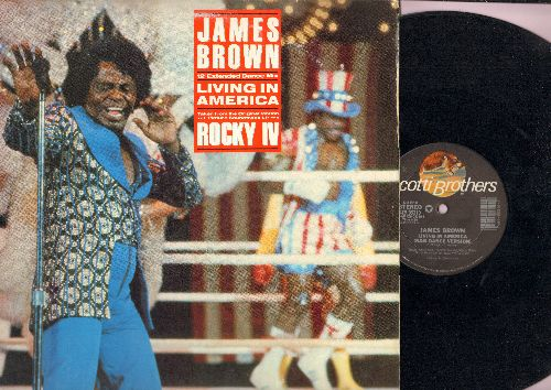 Brown, James - Living In America (from film -Rocky IV) (12 inch vinyl Maxi Single featuring 3 Extended Dance Club Tracks, with picture cover) - EX8/EX8 - Maxi Singles