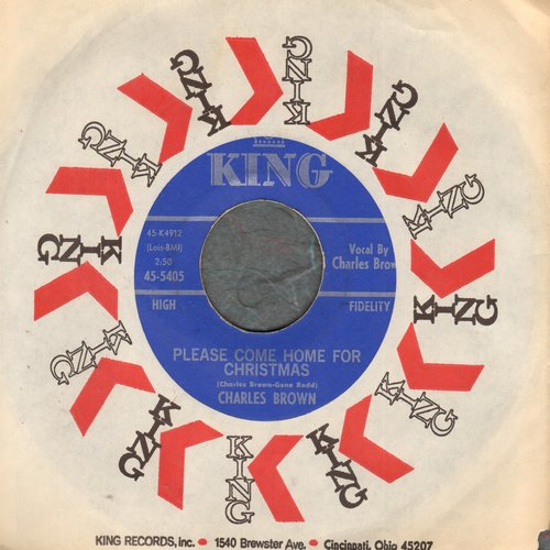 Brown, Charles - Please Come Home For Christmas/Christmas (Comes But Once A Year) (by Amos Milburn on flip-side) (blue label first issue with King company sleeve) - NM9/ - 45 rpm Records