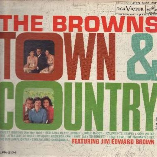 Browns - Town & Country: (Mono) Scarlet Ribbons, Red Sails In The Sunset, Halfway To Heaven, Cool Water, True Love, The Old Lamplighter (Vinyl MONO LP record) - EX8/VG7 - LP Records