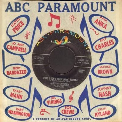 Brown, Maxine - What I Don't Know (Won't Hurt Me)/I Got A Funny Kind Of Feeling (with vintage ABC-Paramount company sleeve) - EX8/ - 45 rpm Records