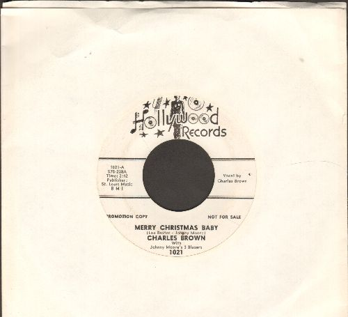 Brown, Charles - Merry Christmas Baby/Sleigh Ride (white label DJ advance pressing) - VG7/ - 45 rpm Records