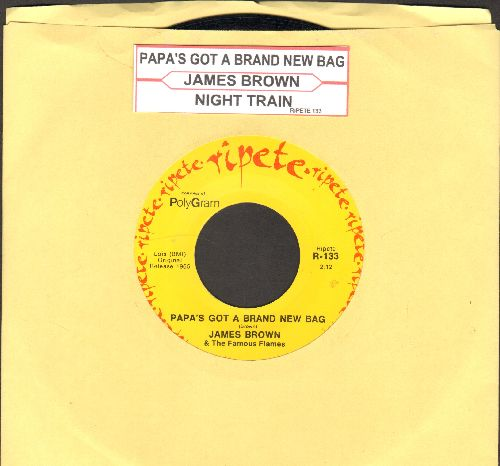 Brown, James - Papa's Got A Brand New Bag/Night Train (double-hit re-issue with juke box label) - NM9/ - 45 rpm Records
