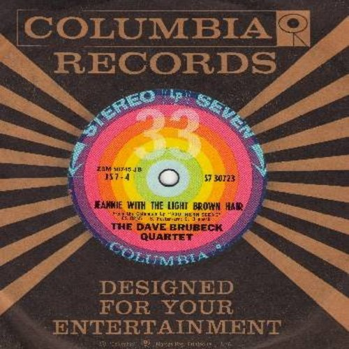 Brubeck, Dave Quartet - Jeannie With The Light Brown Hair/Oh, Susanna (RARE 7 inch 33rpm record, small spindle hole, with vintage Columbia company sleeve) - EX8/ - 45 rpm Records