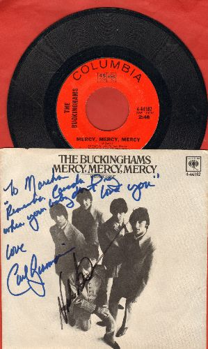 Buckinghams - Mercy, Mercy, Mercy/You Are Gone (with picture sleeve, RARE personalzied autograph from 2 band members!) - NM9/EX8 - 45 rpm Records