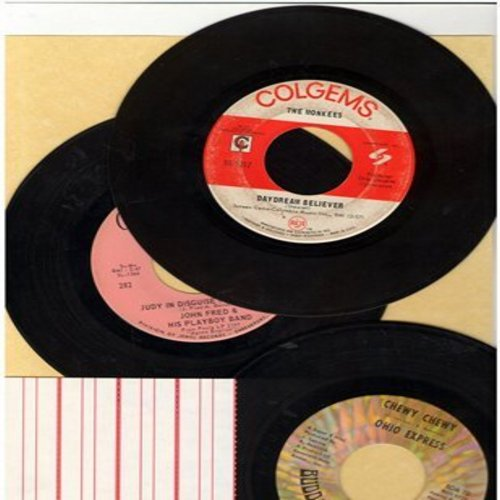 Ohio Express, Monkees, Judy In Disguise - Bubblegum 45s vintage 3-pack: First issues in very good or better condition. Hits include Chewy Chewy, Daydream Believer, Judy In Disguise. Shipped in plain white paper sleeves with 4 blank juke box labels) - VG7/