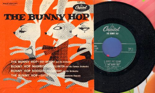 Anthony, Ray & His Orchestra, Cliffie Stone, Duke Ellington - The Bunny Hop: Bunny Hop Mambo/Bunny Hop Boogie (vinyl EP record with 4 Novelty Dance Tracks with picture cover) - EX8/EX8 - 45 rpm Records