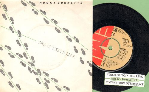 Burnette, Rocky - Tired Of Toein' The Line/Clowns From Outer Space (SWEDISH Pressing with picture sleeve and juke box label, removable spindle-adaptor) - NM9/ - 45 rpm Records