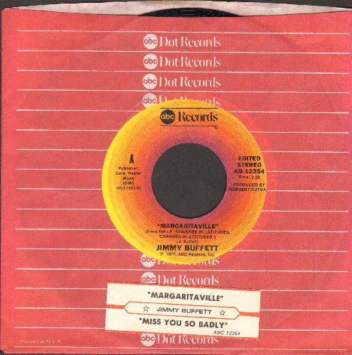 Buffett, Jimmy - Margaritaville/Miss You So Badly (with juke box label and ABC company sleeve) - NM9/ - 45 rpm Records