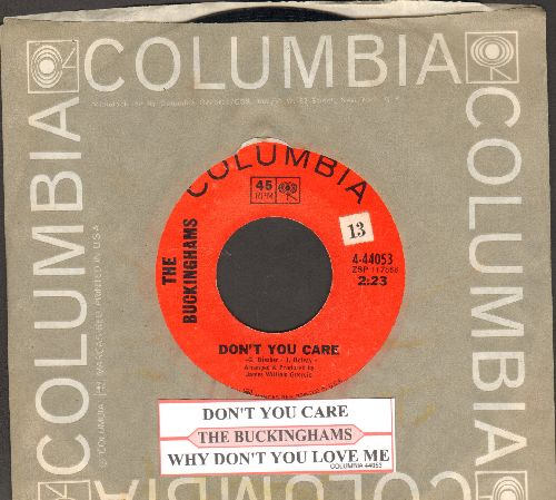 Buckinghams - Don't You Care/Why Don't You Love Me (with juke box label and Columbia company sleeve) - NM9/ - 45 rpm Records