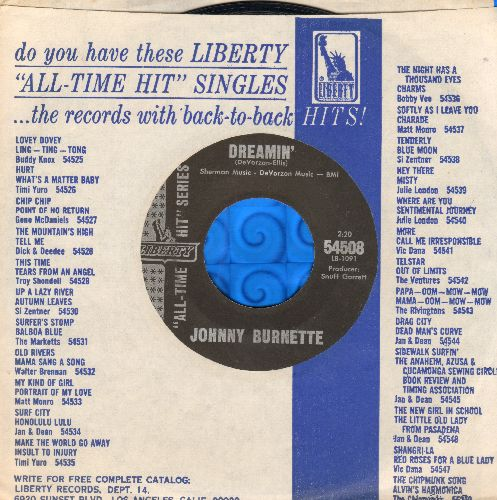 Burnette, Johnny - Dreamin'/Little Boy Sad (1960s early re-issue with Liberty company sleeve) - EX8/ - 45 rpm Records