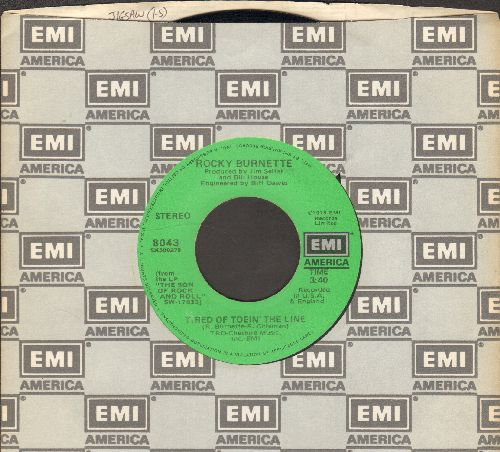 Burnette, Rocky - Tired Of Toein' The Line/Boogie Down In Mobile, Alabama (with EMI company sleeve) - VG7/ - 45 rpm Records