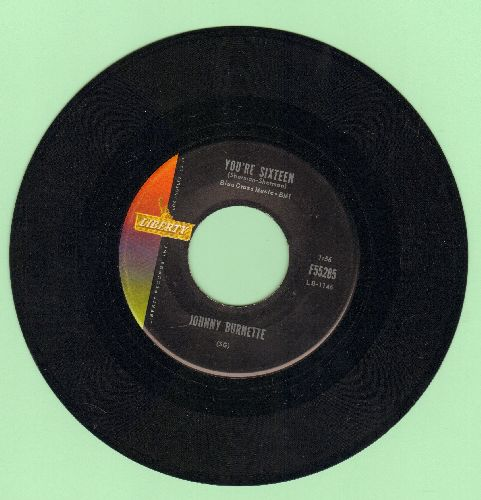 Burnette, Johnny - You're Sixteen/I Beg Your Pardon  - EX8/ - 45 rpm Records