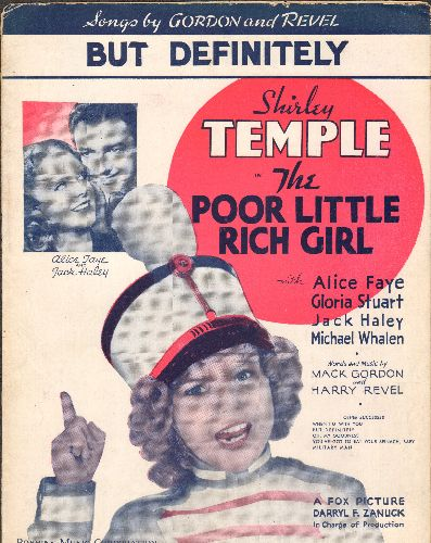 Temple, Shirley - But Definitely! - Vintage SHEET MUSIC for the Shirley Temple song featured in film -The Poor Little Rich Girl- (BEAUTIFUL cover are featuring