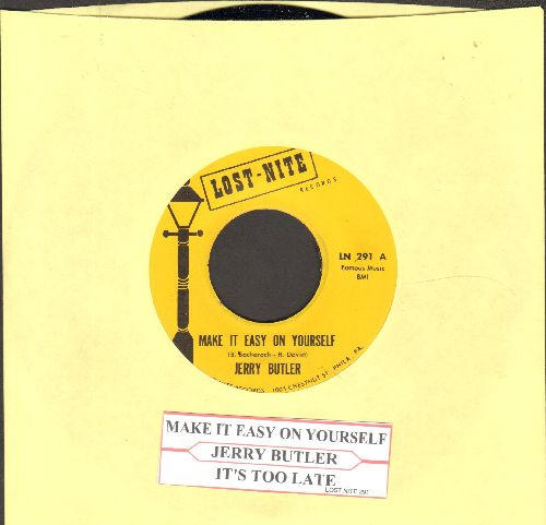 Butler, Jerry - Make It Easy On Yourself/It's Too Late (double-hit re-issue with juke box label) - NM9/ - 45 rpm Records