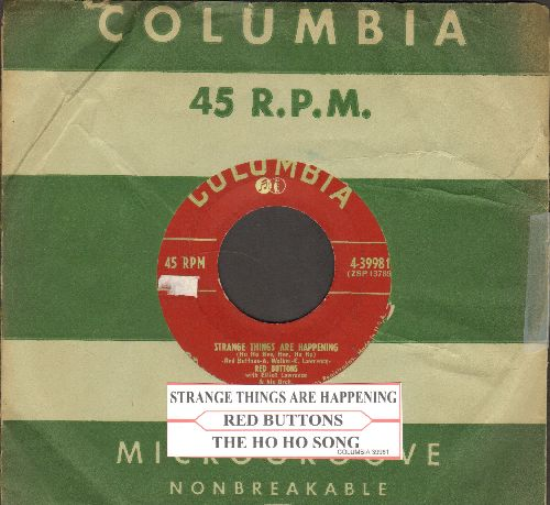 Buttons, Red - Strange Things Are Happening/The Ho Ho Song (burgundy label first issue with vintage Columbia company sleeve and juke box label) - VG7/ - 45 rpm Records