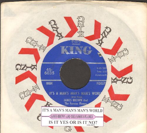 Brown, James & The Famous Flames - It's A Man's Man's World/Is It Yes Or Is It No? (with juke box label and company sleeve)(bb) - EX8/ - 45 rpm Records