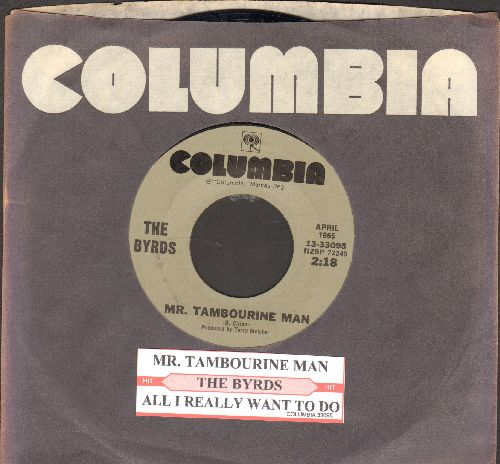 Byrds - Mr. Tambourine Man/All I Really Want To Do (double-hit re-issue with juke box label and  Columbia company sleeve) - EX8/ - 45 rpm Records