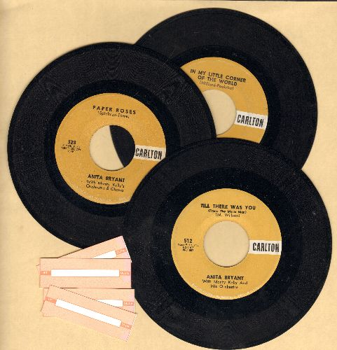 Bryant, Anita - 3-Pack of first pressings by Anita Bryant. Hits include Paper Roses, In My Little Corner Of The World and Till There Was You (shipped in plain white paper sleeves with 4 blank juke box labels) - NM9/ - 45 rpm Records