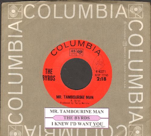Byrds - Mr. Tambourine Man/I Knew I'd Want You (with juke box label and company sleeve) - NM9/ - 45 rpm Records
