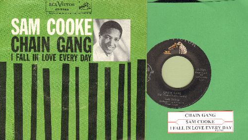 Cooke, Sam - Chain Gang/I Fall In Love Every Day (with picture sleeve and juke box label) - EX8/VG7 - 45 rpm Records