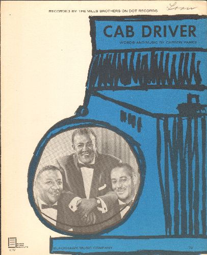 Mills Brothers - Cab Driver - Vintage SHEET MUSIC for the Mills Brothers Classic - EX8/ - Sheet Music