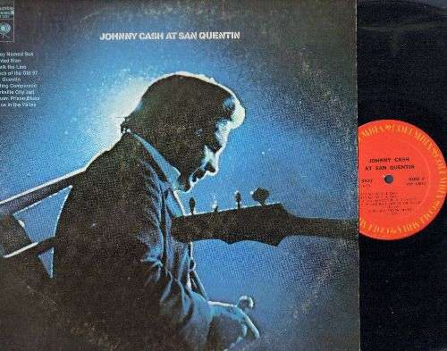 Cash, Johnny - Johnny Cash At San Quentin: I Walk The Line, A Boy Named Sue, Folsom Prison Blues (Vinyl STEREO LP record, 1980s pressing) - NM9/VG7 - LP Records