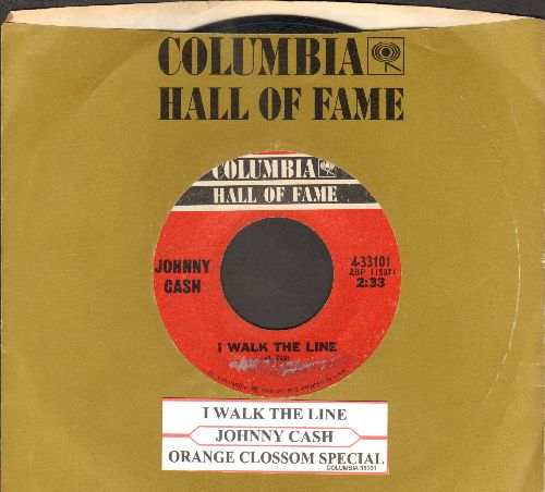 Cash, Johnny - I Walk The Line/Orange Blossom Special (double-hit re-issue with juke box label and company sleeve) - VG7/ - 45 rpm Records